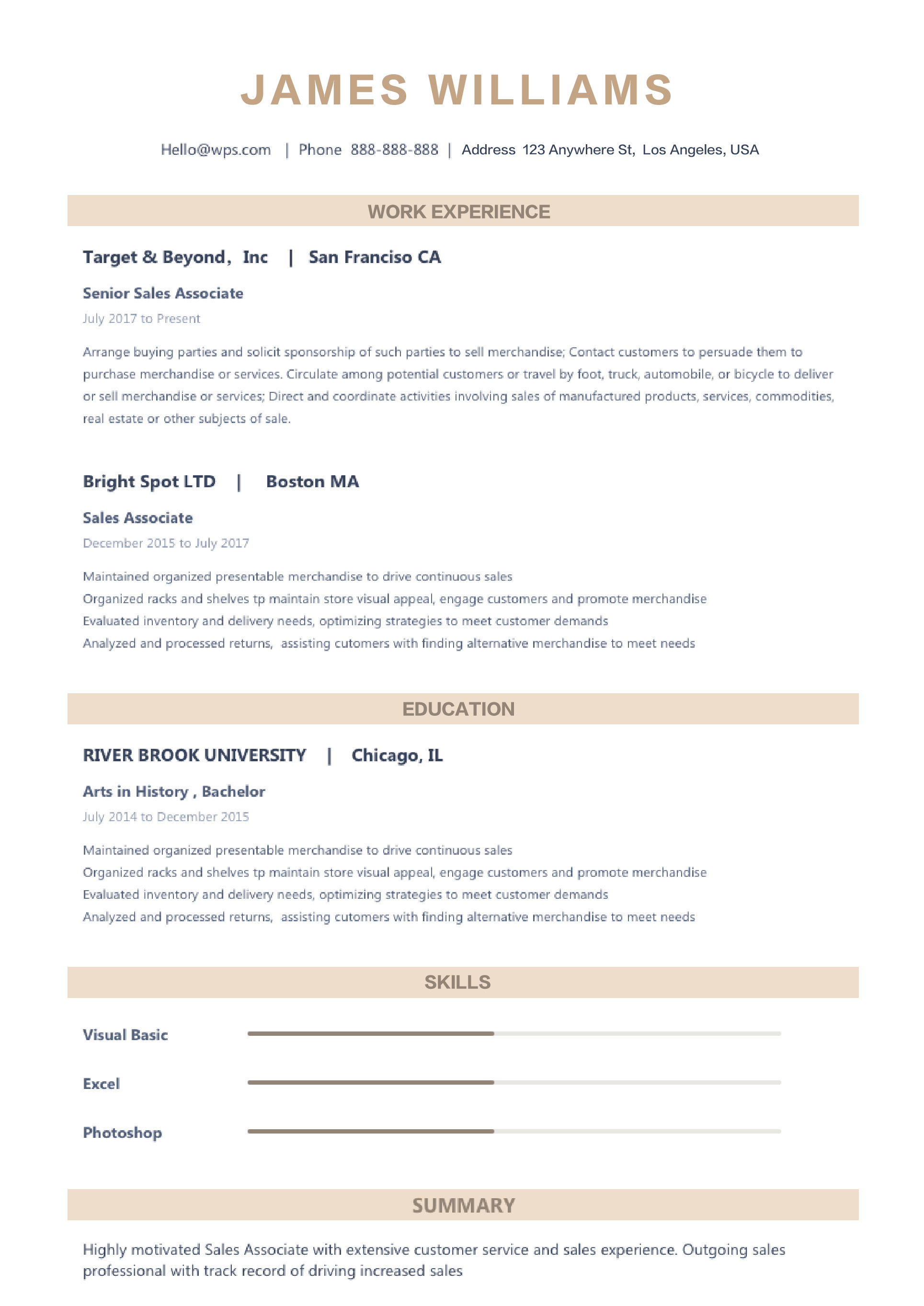 Resume Template Functional